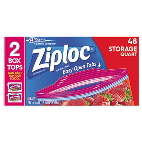 Ziploc Double Zipper Storage Bags, Plastic, 1.75 mil, 1qt, Clear, 48/Box (SJN665015BX)