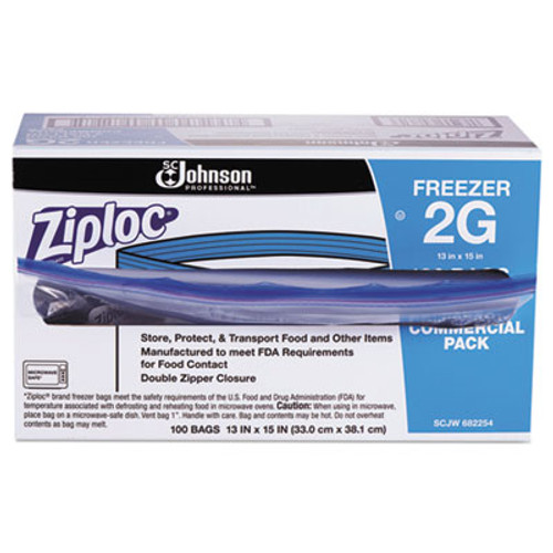Ziploc Commercial Resealable Freezer Bag, Zipper, 2gal, 13 x 15 1/2, Clear, 100/Carton (SJN682254)