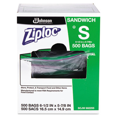 Ziploc Resealable Sandwich Bags, 1.2mil, 6 1/2 x 6, Clear, 500/Box (SJN682255)