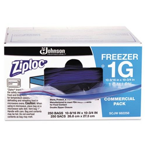 Ziploc Double-Zipper Freezer Bags, 1gal, 2.7mil, Clear w/Label Panel, 250/Carton (SJN682258)