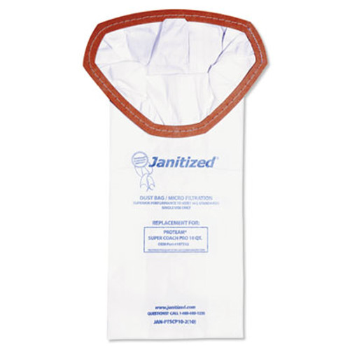 Janitized Vacuum Filter Bags Designed to Fit ProTeam Super Coach Pro, 10/PK, 10PK/CT (APCJANPTSCP102)