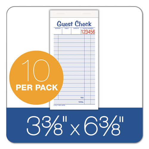 Adams Guest Check Unit Set  Carbonless Duplicate  6 7 8 x 3 3 8  50 Forms  10 Pack (ABF10450SW)