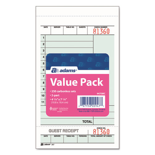 Adams Guest Check Unit Set  Carbonless Duplicate  7 1 4 x 4 1 4  250 Pack (ABF947SWC)