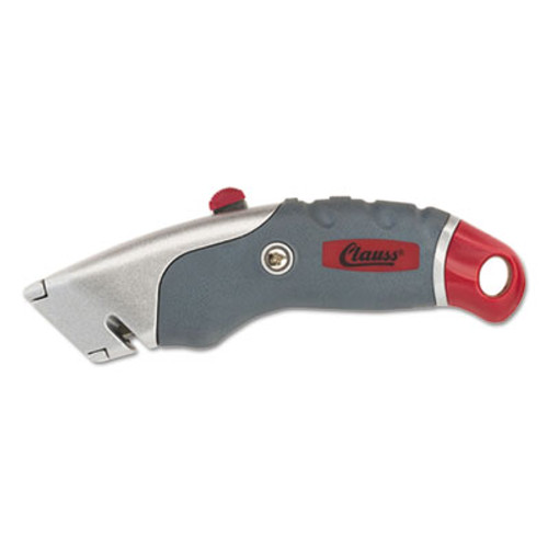 Clauss Titanium Auto-Retract Utility Knife  Gray Red  2 3 10  Blade (ACM18966)
