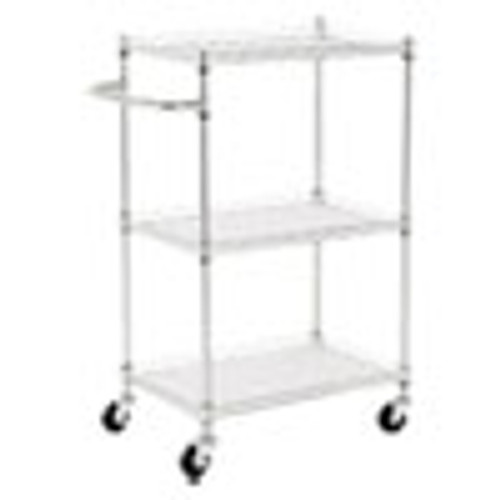 Alera 3-Shelf Wire Cart with Liners  24w x 16d x 39h  Silver  500-lb Capacity (ALESW322416SR)