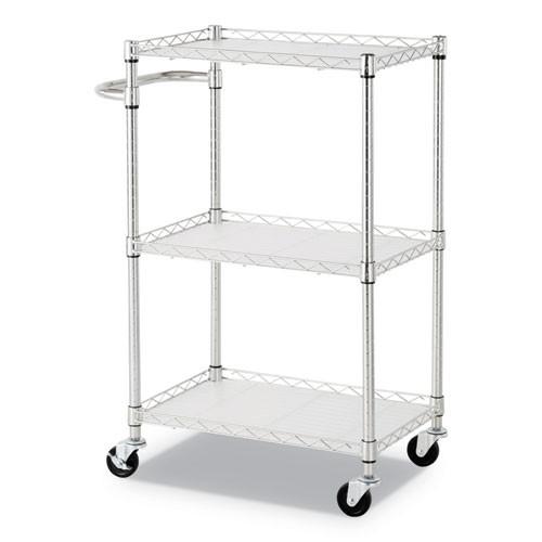 Alera 3-Shelf Wire Cart with Liners  24w x 16d x 39h  Silver  500-lb Capacity (ALESW322416SR)