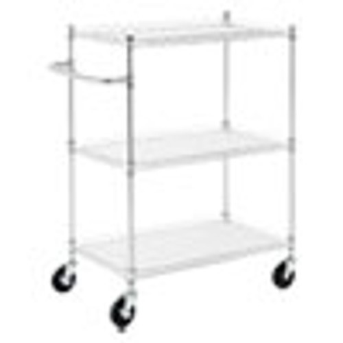 Alera 3-Shelf Wire Cart with Liners  34 5w x 18d x 40h  Silver  600-lb Capacity (ALESW333018SR)