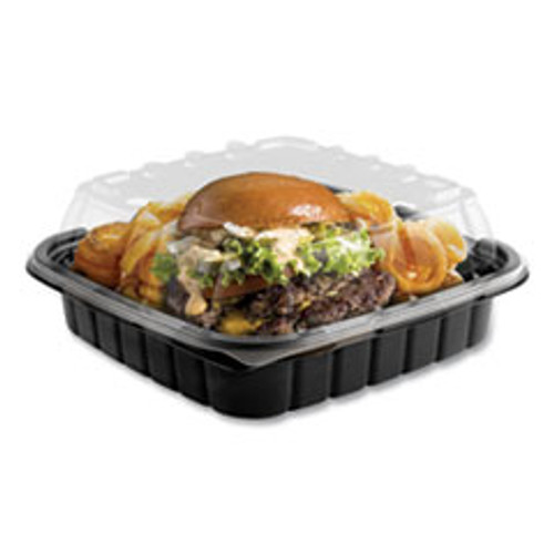Anchor Packaging Crisp Foods Technologies Containers  33 oz  8 46 x 8 46 x 3 16  1 Compartment  Clear Black  180 Carton (ANZ4118501)