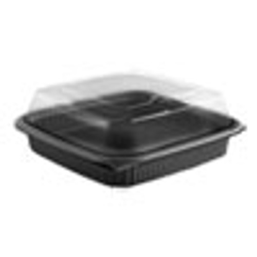 Anchor Packaging Culinary Squares 2-Piece Microwavable Container  36 oz  Clear Black  8 46 x 8 46 x 2 91 150 Carton (ANZ4118515)