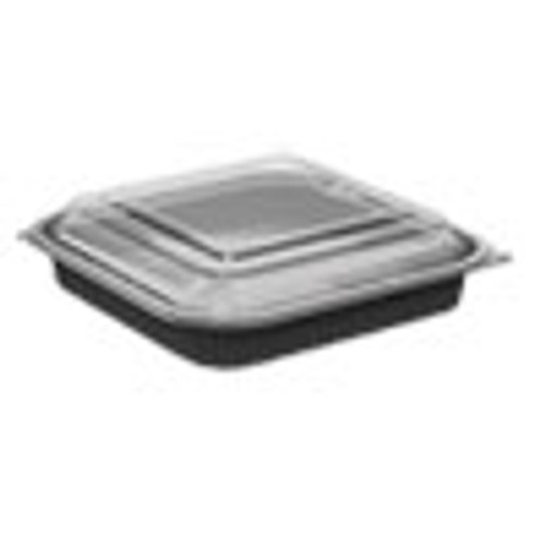 Anchor Packaging Culinary Squares 2-Piece Microwavable Container  36 oz  Clear Black  8 46 x 8 46 x 2 25 150 Carton (ANZ4118521)