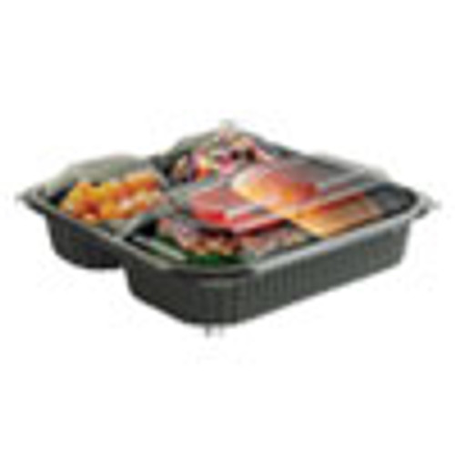 Anchor Packaging Culinary Squares 2-Piece 3-Compartment Microwavable Container  21 oz 6 oz 6 oz  8 46 x 8 46 x 2 5  Clear Black  150 Carton (ANZ4118523)
