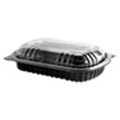 Anchor Packaging MicroRaves Rib Container w Vented Anti-Fog Lids  Half Slab  Black Clear  150 CT (ANZ4401900)