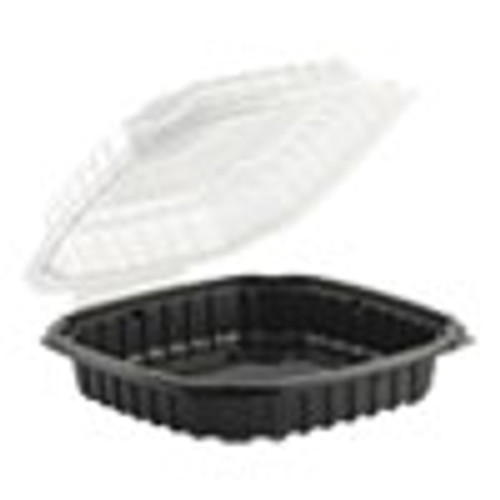 Anchor Packaging Culinary Basics Microwavable Container  46 5 oz  10 5 x 9 5 x 2 5  Clear Black  100 Carton (ANZ4669111)