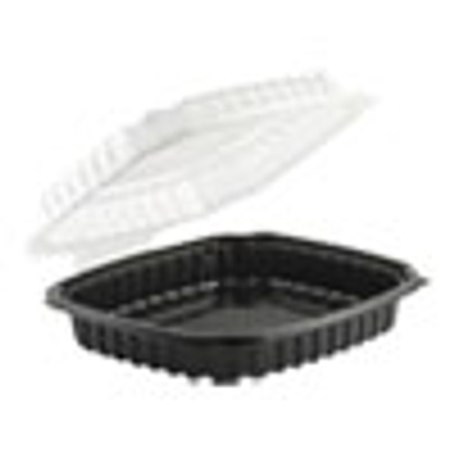 Anchor Packaging Culinary Basics Microwavable Container  36 oz  9 x 9 x 2 5  Clear Black  100 Carton (ANZ4669911)