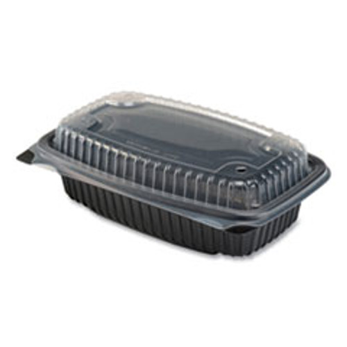 Anchor Packaging Culinary Lites Microwavable Container  34 oz  9 55 x 6 65 x 3 04  Clear Black  100 Carton (ANZ4696911)