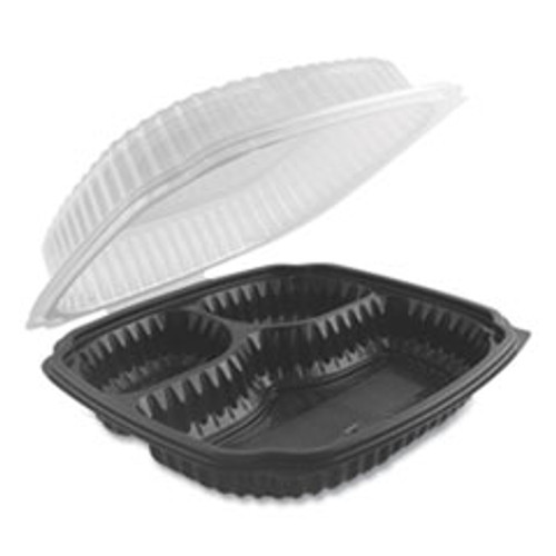 Anchor Packaging Culinary Lites Microwavable 3-Compartment Container  26 oz 7 oz 7 oz  9 x 9 x 3 01  Clear Black  100 Carton (ANZ4699631)