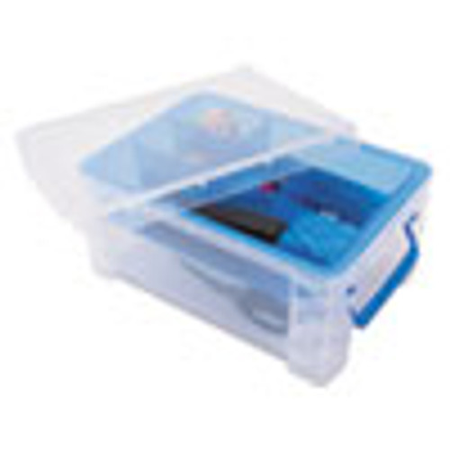Advantus Super Stacker Divided Storage Box  Clear w Blue Tray Handles  10 3 x 14 25x 6 5 (AVT37371)