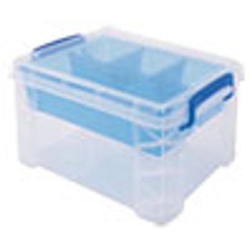 Advantus Super Stacker Divided Storage Box  Clear w Blue Tray Handles  7 1 2 x 10 12x6 5 (AVT37375)