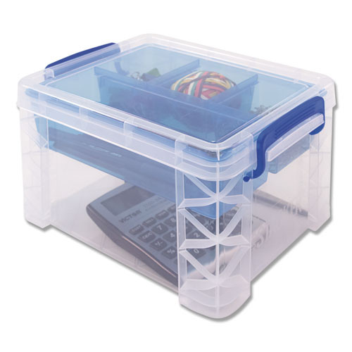 Advantus Super Stacker Divided Storage Box  Clear w Blue Tray Handles  7 1 2 x 10 12x6 5 (AVT37375)