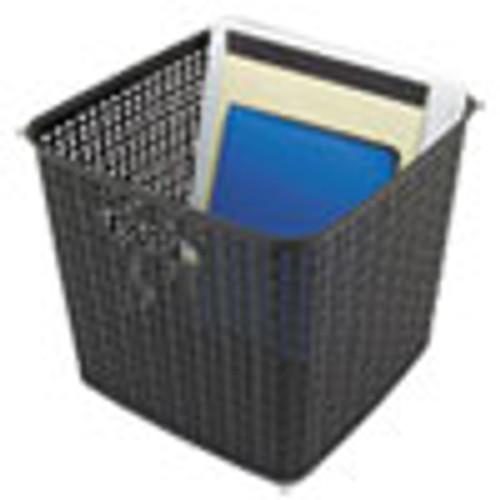 Advantus Plastic Weave Bin  Extra Large  12 5  x 11 13   Black  2 Pack (AVT40376)