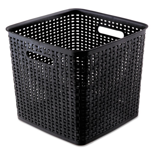 Advantus Plastic Weave Bin  Extra Large  12 5  x 11 13   Black  2 Pack (AVT40376)