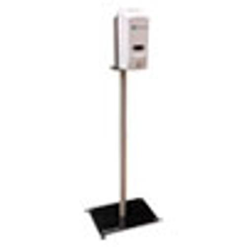 BK Resources Hand Sanitizer Stand with Hands Free Dispenser  12 x 16 x 51  Silver White (BKEBKSSPC10D)