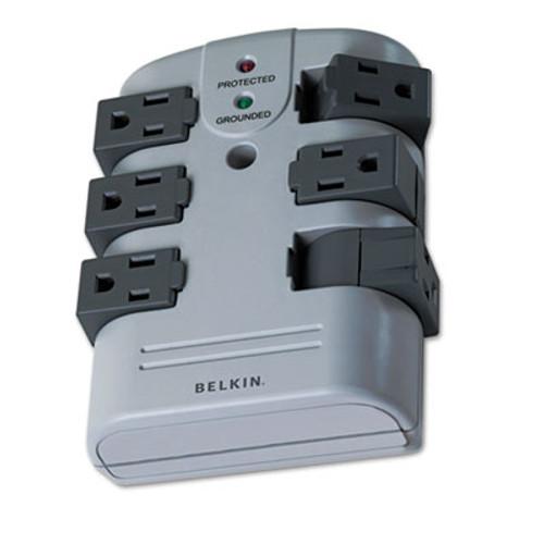 Belkin Pivot Plug Surge Protector  6 Outlets  1080 Joules  Gray (BLKBP106000)