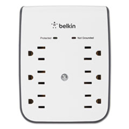 Belkin SurgePlus USB Wall Mount Charger  6 Outlets  2 USB  White (BLKBSV602TT)