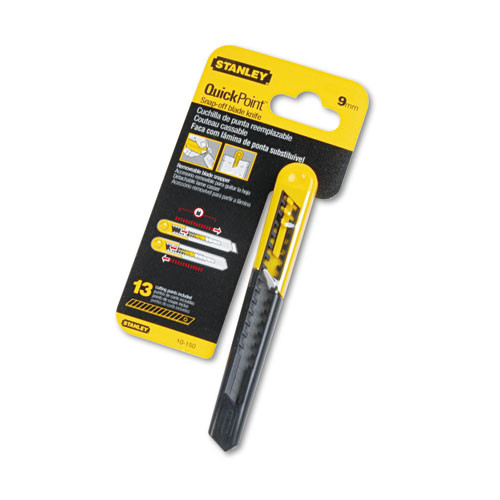 Stanley Straight Handle Knife w Retractable 13 Point Snap-Off Blade  Yellow Gray (BOS10150)