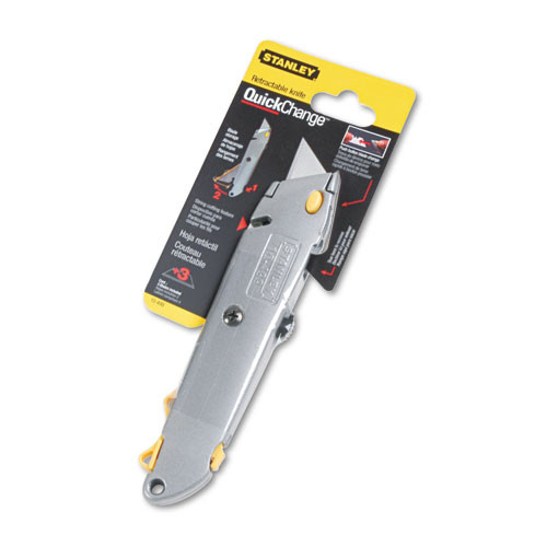 Stanley Quick-Change Utility Knife w Retractable Blade   Twine Cutter  Gray (BOS10499)