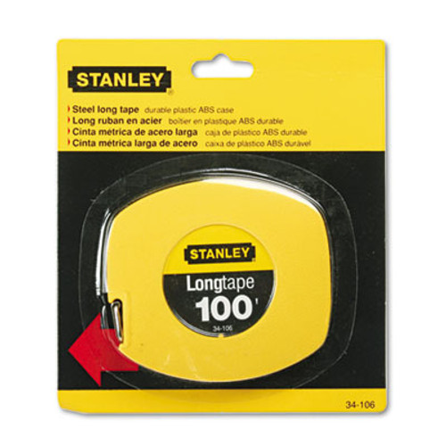 Stanley Long Tape Measure  1 8  Graduations  100ft  Yellow (BOS34106)