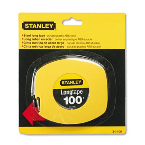 Stanley Long Tape Measure  1 8  Graduations  100ft  Yellow (BOS34106)
