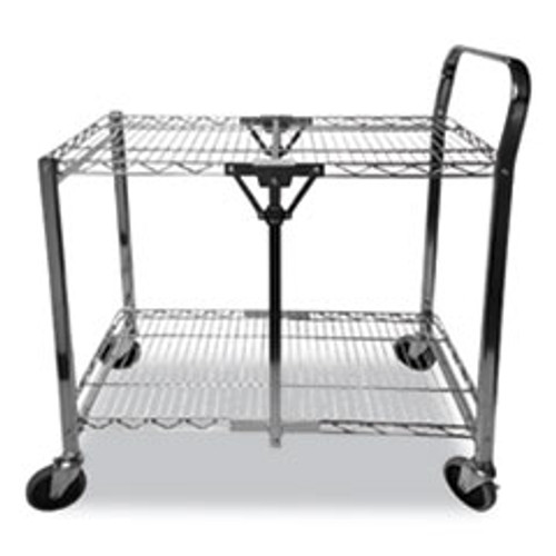 Bostitch Stowaway Folding Carts  2 Shelves  35w x 37 25d x 22h  Black  250 lb Capacity (BOSBSACLGBLK)