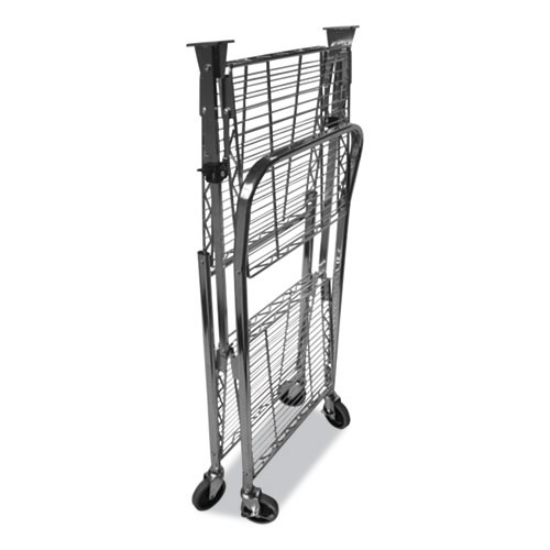 Bostitch Stowaway Folding Carts  2 Shelves  35w x 37 25d x 22h  Chrome  250 lb Capacity (BOSBSACLGCR)