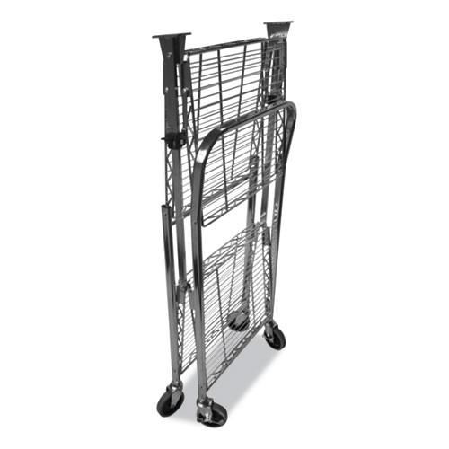 Bostitch Stowaway Folding Carts  2 Shelves  35w x 37 25d x 22h  Chrome  250 lb Capacity (BOSBSACLGCR)