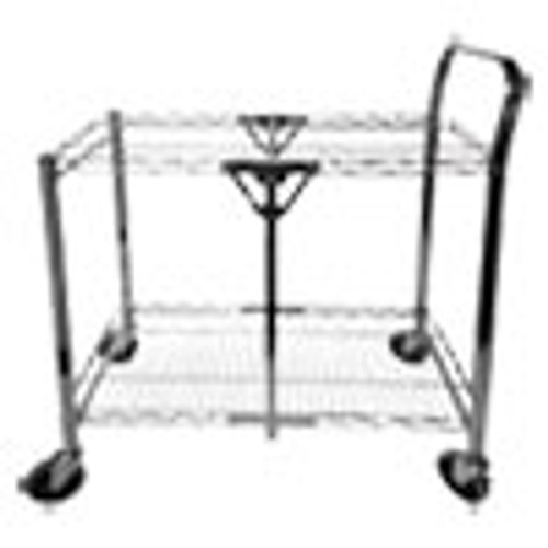 Bostitch Stowaway Folding Carts  2 Shelves  29 63w x 37 25d x 18h  Chrome  250 lb Capacity (BOSBSACSMCR)