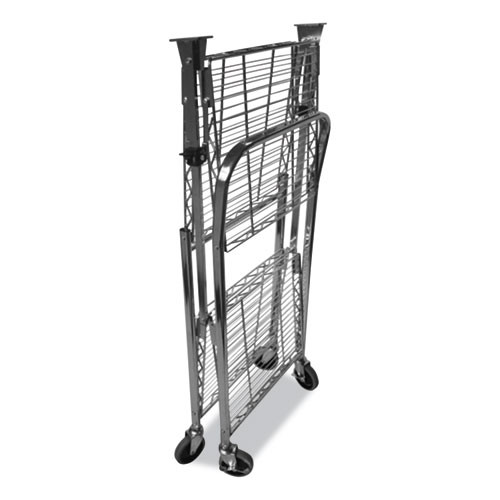 Bostitch Stowaway Folding Carts  2 Shelves  29 63w x 37 25d x 18h  Chrome  250 lb Capacity (BOSBSACSMCR)