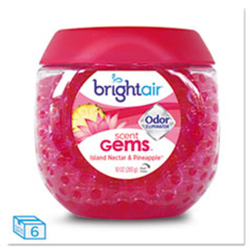 BRIGHT Air Scent Gems Odor Eliminator  Island Nectar and Pineapple  Pink  10 oz  6 Carton (BRI900229CT)