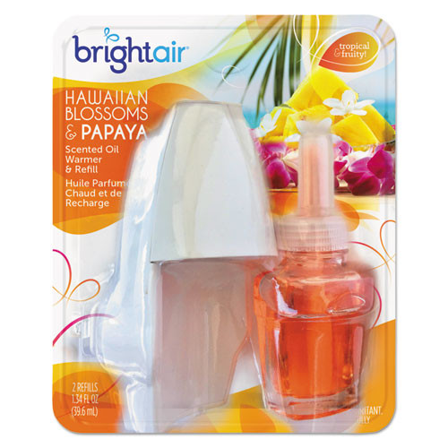 BRIGHT Air Electric Scented Oil Air Freshener Warmer and Refill Combo  Hawaiian Blossoms and Papaya (BRI900254EA)
