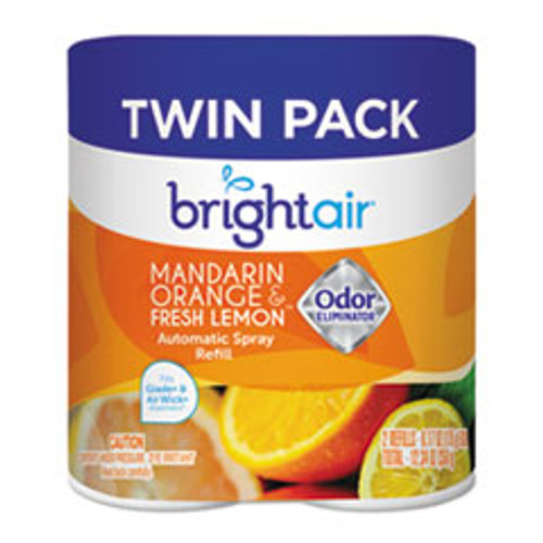 BRIGHT Air Automatic Spray Air Freshener Refill  Mandarin Orange   Fresh Lemon  6 Carton (BRI900346)