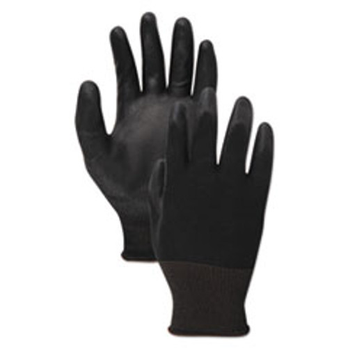 Boardwalk PU Palm Coated Gloves  Black  Size 11  2X-Large   1 Dozen (BWK0002811)