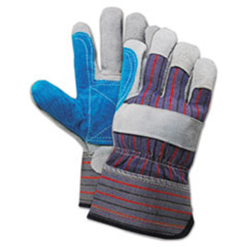Boardwalk Cow Split Leather Double Palm Gloves  Gray Blue  Large  1 Dozen (BWK00034)