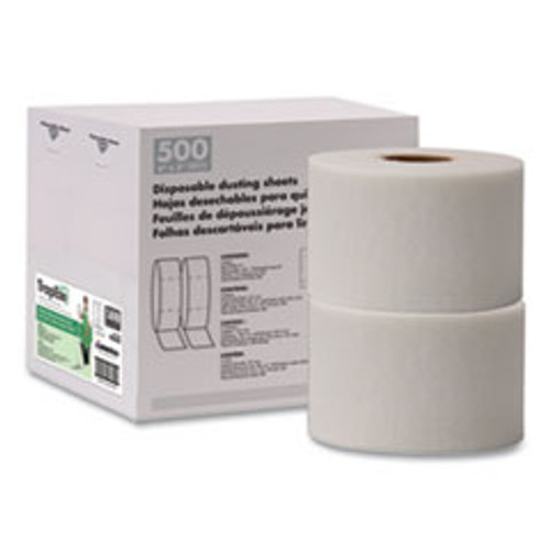 Boardwalk TrapEze Disposable Dusting Sheets  5  x 125 ft  White  250 Sheets Roll  2 Rolls Carton (BWK582505)