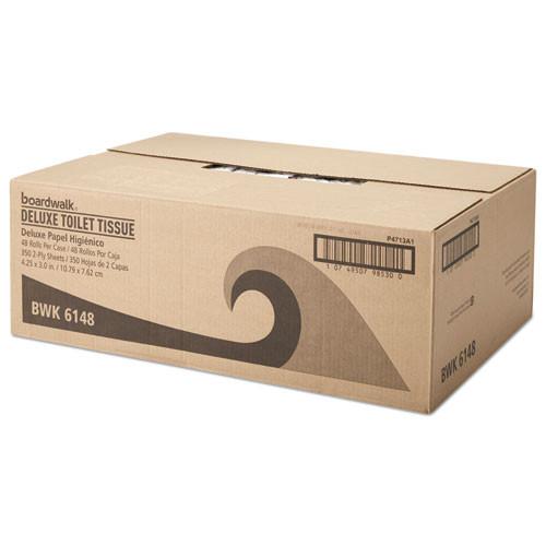 Boardwalk Office Packs Standard Bathroom Tissue  Septic Safe  2-Ply  White  350 Sheets Roll  48 Rolls Carton (BWK6148)