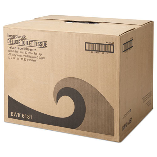 Boardwalk Office Packs Standard Bathroom Tissue  Septic Safe  2-Ply  White  504 Sheets Roll  80 Rolls Carton (BWK6156)
