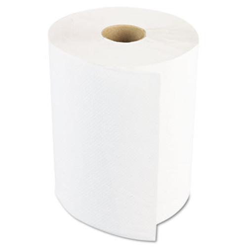 Boardwalk Hardwound Paper Towels  1-Ply  8  x 600ft  White  2  Core  12 Rolls Carton (BWK6261B)
