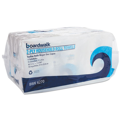 Boardwalk Office Packs Perforated Towels  2-Ply  White  9 x 11  70 Roll  15 Rolls Bundle (BWK6270)