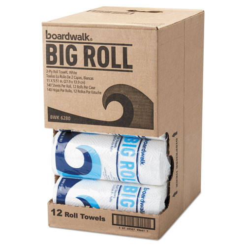 Boardwalk Office Packs Perforated Paper Towel Rolls  2-Ply  White  5 5 x11  140 Roll 12 Ct (BWK6280)
