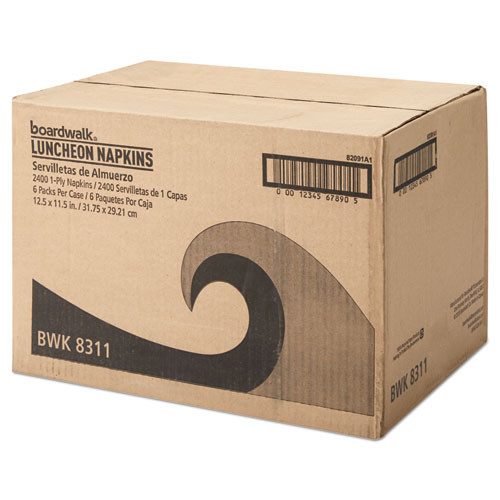 Boardwalk Office Packs Lunch Napkins  1-Ply  12 1 2 x 11 1 2  White  2400 Carton (BWK8311CT)