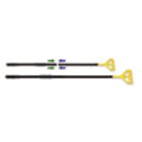 Boardwalk Two-Piece Metal Handle with Plastic Quick Change Head  62  Handle  Black Yellow (BWKFF620)